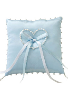 Blue Satin Heart Shaped Pearls Bow Ring Bearer Pillow