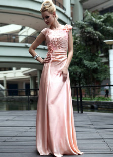 Pink Jewel Neck Floor Length Acrylic Prom Dress