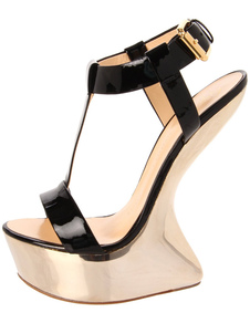 Shoes Black T-Strap Open Toe Buckle Special Shaped Heel Womens Sandals