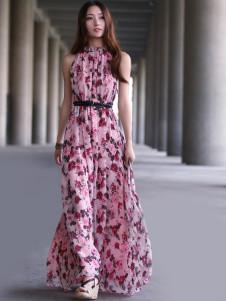 Pink Pleated Sleeveless Floral Chiffon Womens Maxi Dress