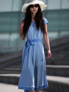 Retro Sky Blue Sash Short Sleeves Chiffon Womens Summer Dress