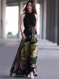Black Pleated Sleeveless Floral Chiffon Womens Maxi Dress