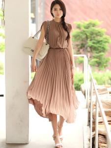 Elegant Brown Pleated Sleeveless Silk Like Womens Maxi Dress