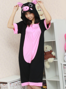 Black Pink Pig Pattern Cotton Kigurumi Costume
