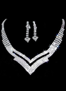 Fashion Silver Plated Rhinestone Necklace Earrings Wedding Jewelry Set