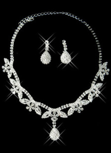Leaves Shaped Silver Plated Rhinestone Bridal Jewelry Set