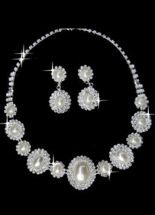 Round Pearl Silver Plated Rhinestone Bridal Jewelry Set