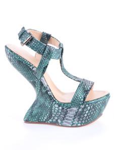 Milanoo UK  Dark Green Special-Shaped Heel T-Strap PU Womens Shoes