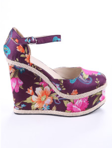 Purple Ankle Strap Round Toe Floral Cloth Womens Wedge Shoes