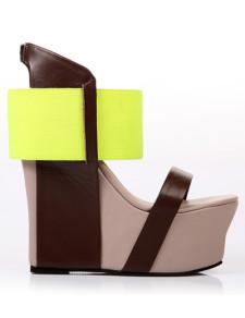 Sandalo con zeppa colore blocco caviglia cinturino pelle di pecora donna