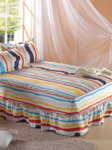 Milanoo UK  Rainbow Color Stripe Printing Cotton Fitted Sheet With Bed Skirt