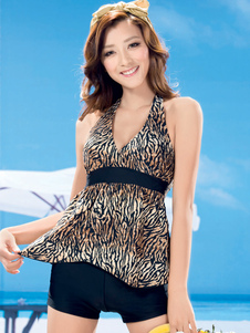 Modern Animal Print Polyester Halter Womens Tankini Set
