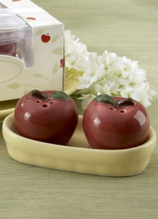Dark Red Apple Shaped Wedding Spice Pot