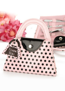 Pink Polka Dot Tote Bag Face Shave Tool Set With Bag