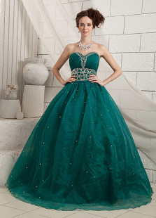 Sweet Deep Green Satin Organza Sweetheart Quinceanera Dress