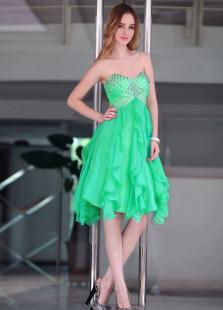Sweet Green Chiffon Pleated Beading Strapless Cocktail Dress