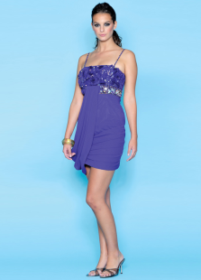 Milanoo UK  Lavender Spaghetti Sheath Beading Chiffon Homecoming Dress