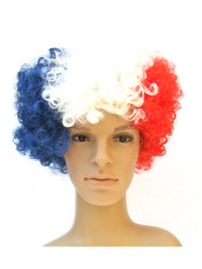 France Fans Afro Style Synthetic Party Wig