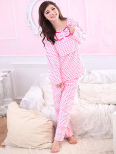 pink-polka-dot-bow-cotton-maternity-sleepwear