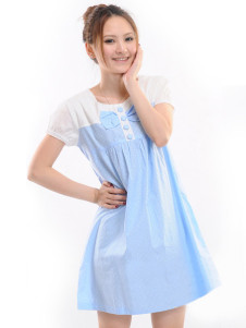 Blue Short Sleeves Bow Cotton Maternity Dress