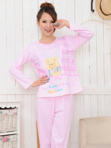 sweet-pink-animal-pattern-cotton-maternity-sleepwear