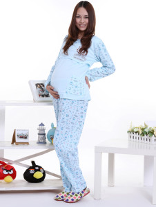 blue-printing-cotton-maternity-sleepwear