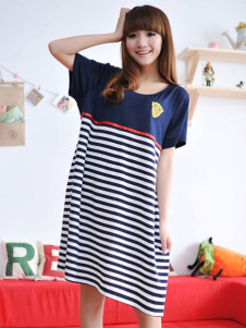 Navy Blue Short Sleeves Fashion Stripe Cotton Maternity Dress