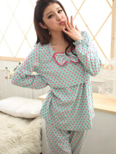 blue-polka-dot-bow-cotton-maternity-sleepwear