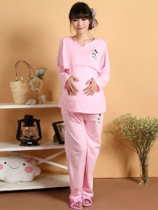 pink-cartoon-character-cotton-maternity-sleepwear