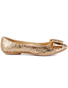 Image of Albicocca Glitter paillettes Ballet di panno Bow donna Flat