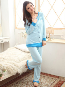 blue-long-sleeves-piping-cotton-maternity-sleepwear