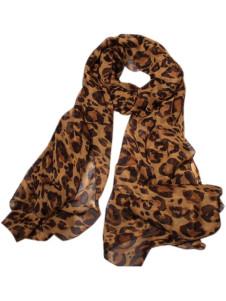 Image of Moda sciarpa della donna di seta stampa leopardo