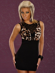 Fashion Leopard Printed Acrylic Womans Club Dress