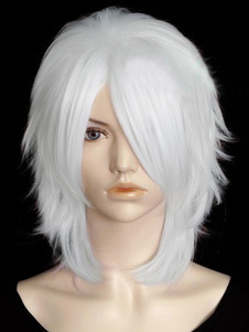 Blanco elegante 45 cm Faux corta peluca completa
