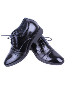 Cool Black PU Cowhide Lace Up Wedding Groom Shoes