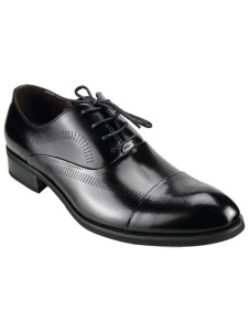 Modern Black PU Cowhide Lace Up Men's Groom Shoes