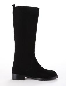 Black Round Toe Zipper Monogram Suede Knee Length Boots