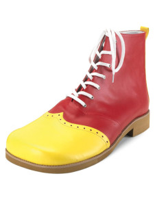 Yellow Red Color Blocking PU Leather Lace Up Ankle Length Clown Boots