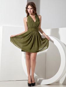 Chiffon Knee Length Halter Bridesmaid Dress