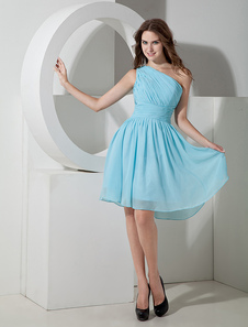 One-shoulder Chiffon Knee Length Womens Bridesmaid Dress