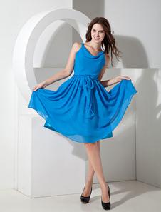 Robe demoiselle d'honneur A-ligne bleue en chiffon à fines bretelles