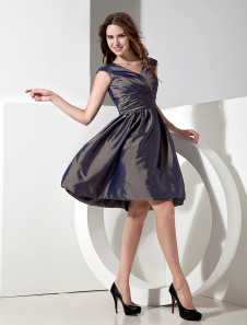 Silvery Taffeta V-neck Knee Length A-line Bridesmaid Dress