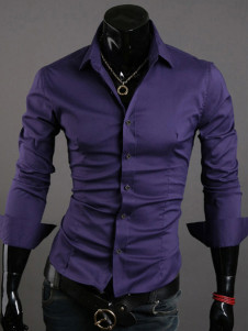 Purple Cotton Blend Men's Casual Shirt