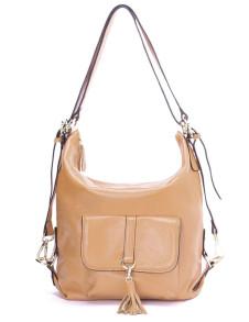 Fashion Khaki Cow Leather Magnetic Snap Fringe Womens Hobo Shoulder Bag