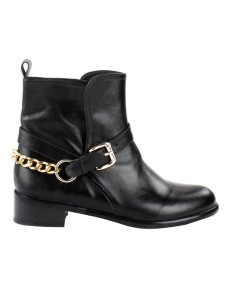 Black Cow Leather Chain Buckle Flat Ankle Booties