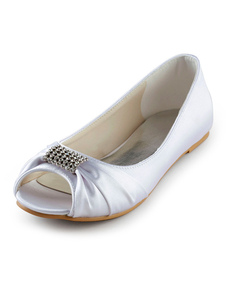 White Satin Rhinestone Peep Toe Wedding Flat Shoes