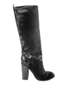 Black Buckle Chunky Heel Horse Hair Womans Knee Length Boots