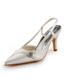 Pointed Toe Sling Back Rhinestone Satin Wedding Shoes