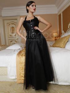 Milanoo UK  Vintage Black Satin Lace Front Button Women's Corset And Skirt