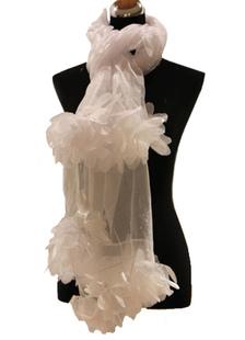 Châle festif femme\, soie blanche et rose